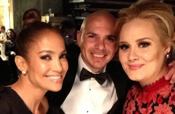 jlo, pitbull y Adele